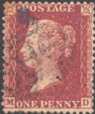 1861 1d Rose-red SG42 Plate 50 'MD'